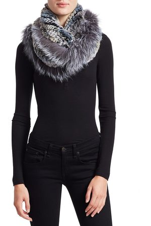 The Fur Salon Women's Knitted Rabbit & Fox Infinity Scarf