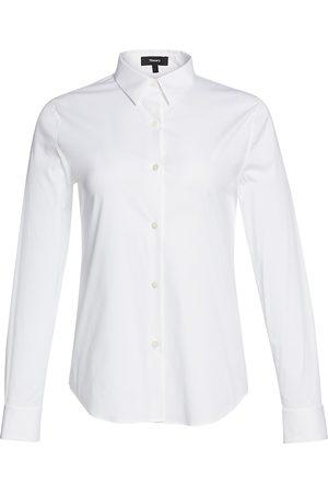 THEORY Women's Tenia Luxe Cotton Shirt - - Size XL