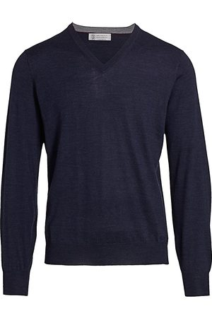 Brunello Cucinelli Men's V-Neck Wool & Cashmere Sweater - - Size 60 (50)