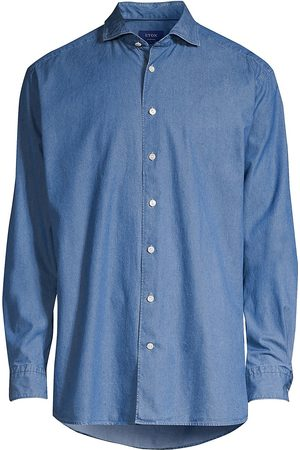 Eton Men's Contemporary-Fit Chambray Soft Shirt - - Size 18.5
