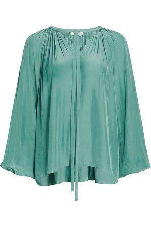 Ramy Brook Women's Paris Blouson-Sleeve Taffeta Blouse - - Size XXS