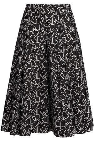 Moncler Women's Nylon Logo-Print A-Line Skirt - - Size 40 (4)