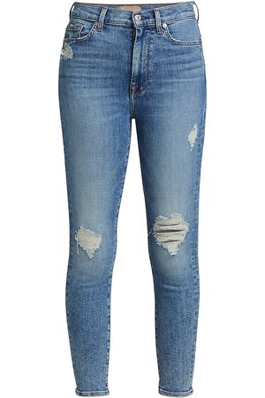 7 for all Mankind Women's Luxe High-Rise Ankle Skinny Jeans - - Size 34 (16)