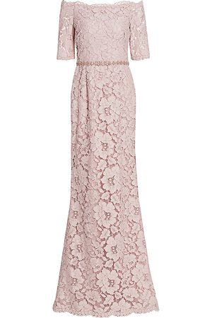 Teri Jon by Rickie Freeman Off-the-Shoulder Embellished Lace Gown - - Size 18