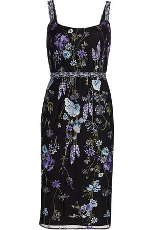 Marchesa Notte Women's Floral Embroidered Tulle Sheath Dress - - Size 12