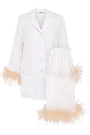 Sleeper Women's 2-Piece Ostrich Feather Trim Pajama Set - - Size Small