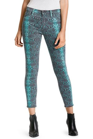 Hudson Women's Barbara Mid-Rise Snakeskin High-Rise Skinny Jeans - Teal Python - Size 30