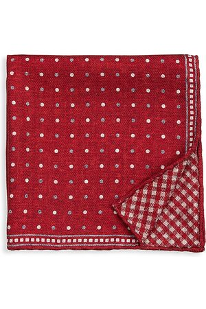 Brunello Cucinelli Men's Gingham Silk Pocket Square