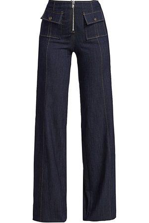 Cinq A Sept Women's Azure High-Rise Wide-Leg Jeans - - Size 12