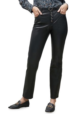 Lafayette 148 New York Women's Reeve Button-Fly Leather Pants - - Size 16
