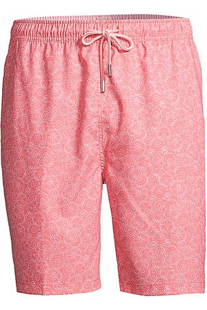 Peter Millar Men's Swirling Dots & Coral Swim Shorts - - Size XL