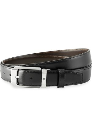 Mont Blanc Men's Rectangular Shiny Stainless Steel Pin Buckle Leather Belt