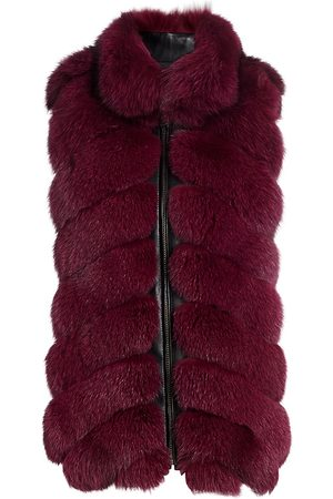 The Fur Salon Women Gilets - Women's Chevron Section Fox Fur Leather-Trim Vest - Burgundy - Size Small