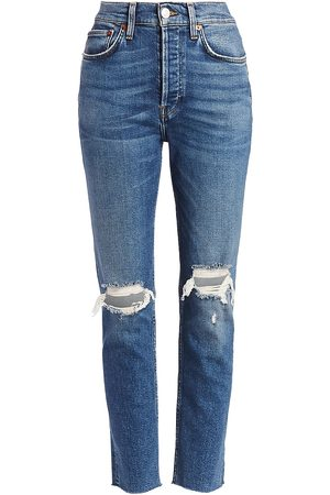 RE/DONE Women's High-Rise Comfort Stretch Ripped Ankle Skinny Jeans - - Size 31 (10)