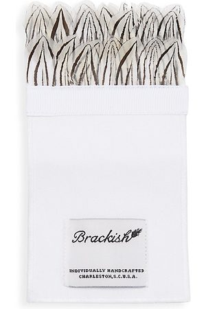 Brackish Men's Blythe Silk & Pheasant Feather Pocket Square