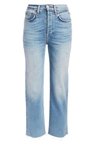 RE/DONE Women High Waisted - Women's Comfort Stretch High-Rise Stovepipe Jeans - Light Stone - Size 30