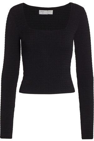 PROENZA SCHOULER WHITE LABEL Women's Quilted Squareneck Knit Top - - Size Medium