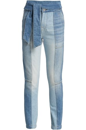 Jonathan Simkhai Standard Women's Paisley High-Rise Tie-Waist Straight Jeans - - Size 25 (2)