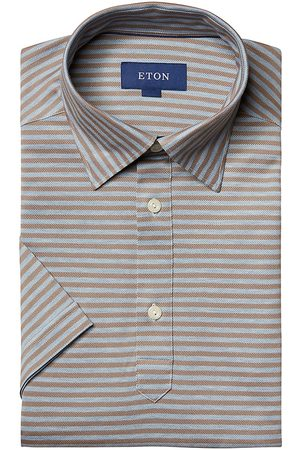 Eton Men's Striped Short-Sleeve Pique Button-Front Shirt - - Size XL