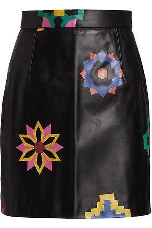 Kirin Women's Floral Leather Mini Skirt - Rainbow - Size 4
