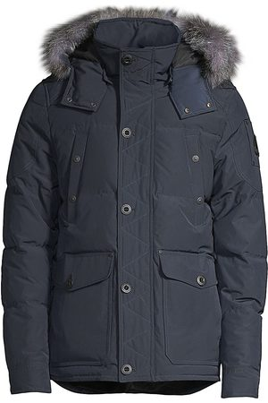 Moose Knuckles Men's Round Island Blue Frost Fox Fur-Trim Down Jacket - - Size Large