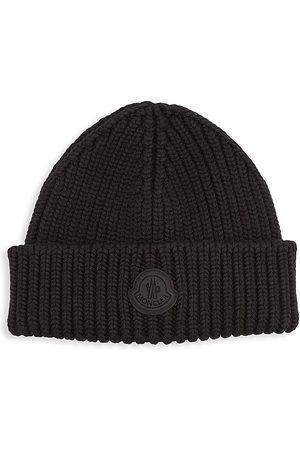 Moncler Men's Logo Virgin Wool Beanie