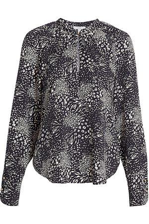 Joie Women Sports T-shirts - Women's Shauna Print Keyhole Shirt - Caviar - Size Large
