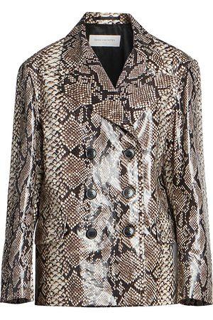 DRIES VAN NOTEN Women's Snakeskin-Print Double-Breasted Jacket - - Size Small