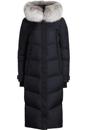 The Fur Salon Women's Long Fox Fur-Trim Down Puffer Coat - - Size Small