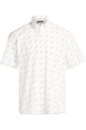 Balenciaga Men's Repeat Logo Short-Sleeve Shirt - - Size 36 (14)