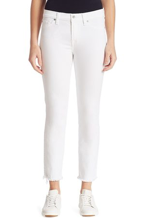 7 for all Mankind Women's Roxanne Mid-Rise Frayed Cigarette Jeans - - Size 32 (10-12)