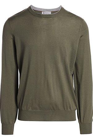 Brunello Cucinelli Men's Suede Elbow Patch Crew Sweater - - Size 50 (40)