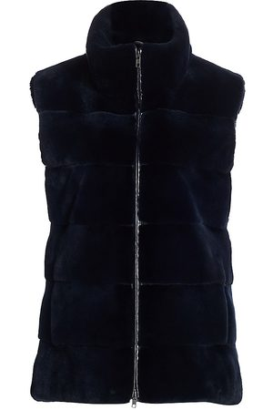 The Fur Salon Women's Zandra Rhodes For Plucked Mink Fur Stand Collar Vest - - Size XL