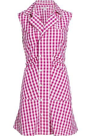Derek Lam Women's Satina Gingham Shirt Dress - Fuchsia - Size 2
