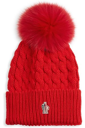 Moncler Women's Cable-Knit Wool Fox Fur Pom-Pom Hat