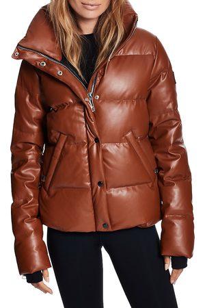SAM. Women's Isabel Vegan Leather Puffer Down Jacket - Saddle - Size Large