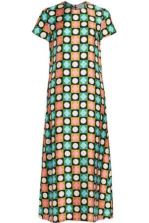 La DoubleJ Women's Edition 20 Geometric Print Silk Swing Dress - - Size XS
