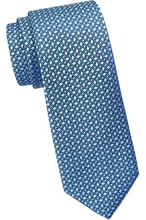 Charvet Men's Asymmetric Vine Leaf-Print Silk Tie