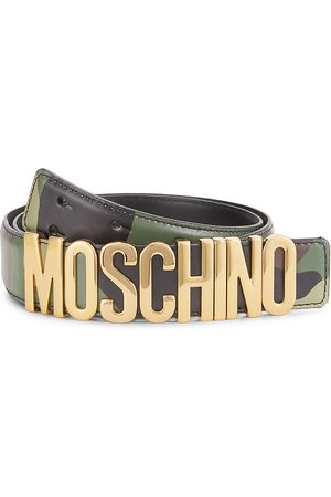 Moschino Men's Camo Logo Buckle Leather Belt - - Size 56 (40)