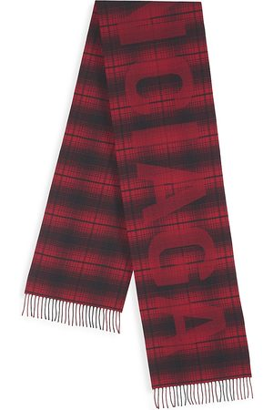Balenciaga Men's Wool Logo Plaid Scarf