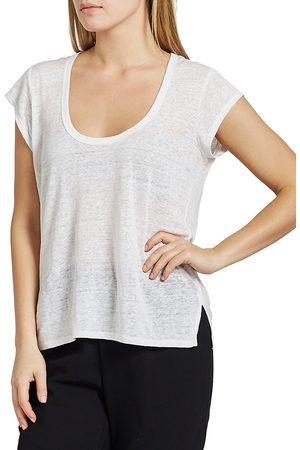 Joie Women Sports T-shirts - Women's Evalina Linen T-Shirt - Porcelain - Size Large
