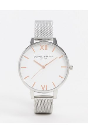 Olivia Burton Large white dial mesh watch