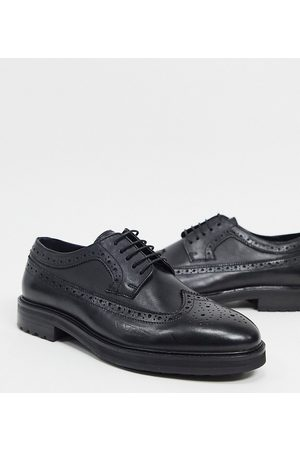 ASOS Wide Fit brogue shoes in leather with chunky sole