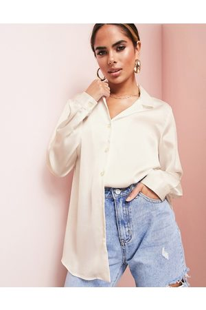 ASOS ASOS LUXE relaxed satin long sleeve shirt in oyster