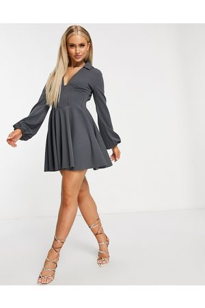 ASOS Corseted shirt mini skater dress with ruched side detail in slate-Grey