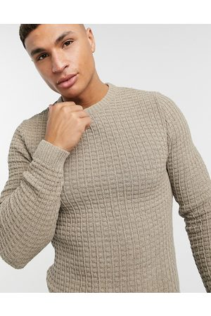 ASOS Muscle fit waffle knit sweater in oatmeal