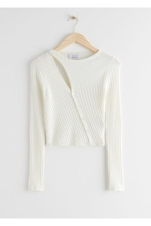 & OTHER STORIES Fitted Asymmetric Button Up Knit Cardigan