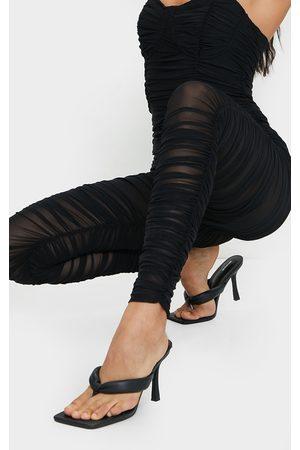PRETTYLITTLETHING PU Tube Strap Toe Thong Mid Heels