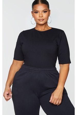 PrettyLittleThing Plus Cotton Stretch T Shirt Thong Bodysuit