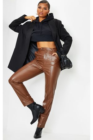 PRETTYLITTLETHING Chocolate Faux Leather Pintuck Detail Straight Leg Pants